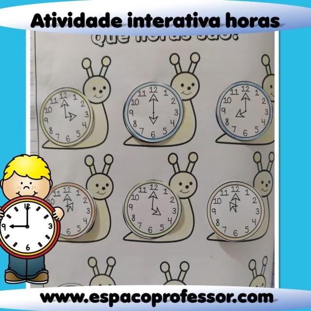 Atividade para ensinar as horas - Atividade interativa 2