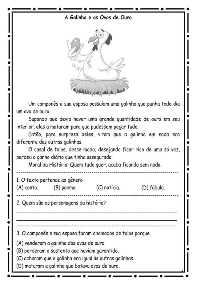 Leitura e interpretação A galinha e ovos de ouro