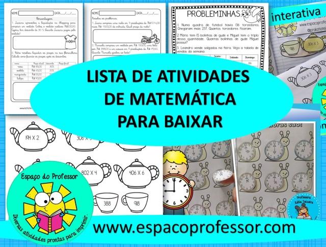 Lista de atividades de matemática para imprimir