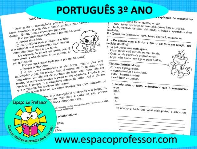 Atividade de português 3º ano – Interpretação de texto macaquinho carinhoso