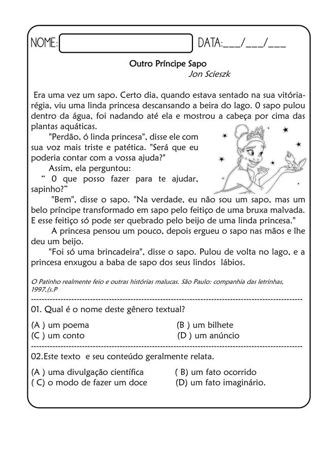 Exercícios de português 4º ano - Leitura e Interpretação