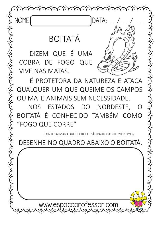 Interpretação de texto 1º ano PDF - Atividade folclore