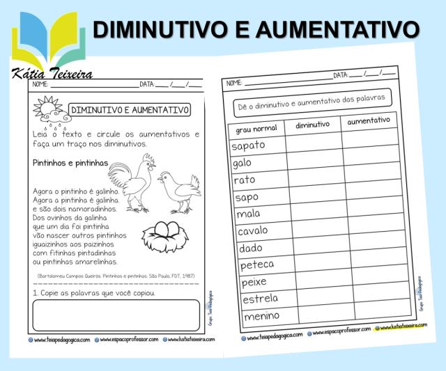 Atividade de Português 2º ano: Diminutivo e Aumentativo com frases enigmáticas