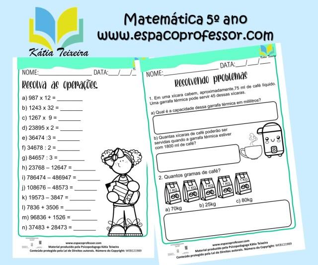 Atividades de matemática 5º ano: quatro operações e situações problema