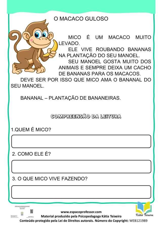 Atividade de português 1º ano - leitura e interpretação letra M
