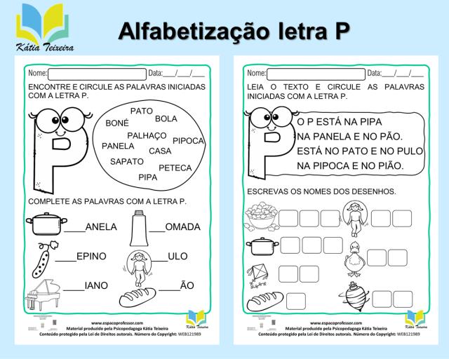 Atividade de português 1º ano: alfabetização letra P - 01