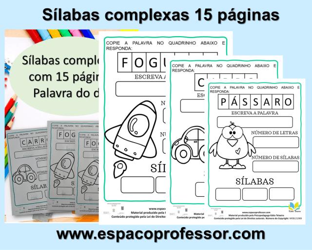 Atividades sílabas complexas com 15 páginas- palavra do dia