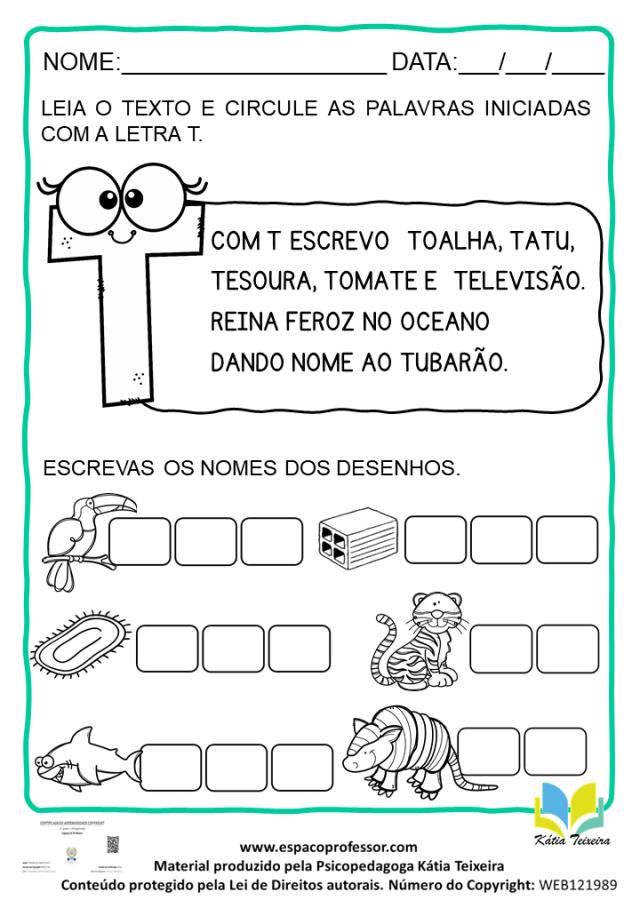 Atividade de português 1º ano: alfabetização letra T