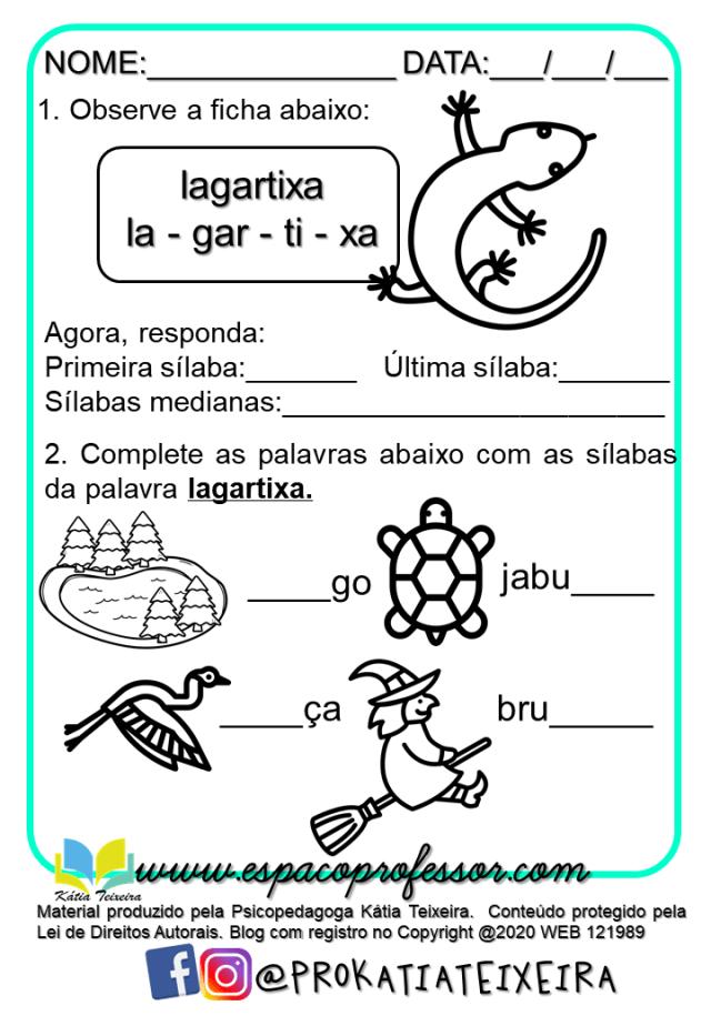 Português 2º ano -Atividades de alfabetização A lagartixa Lila