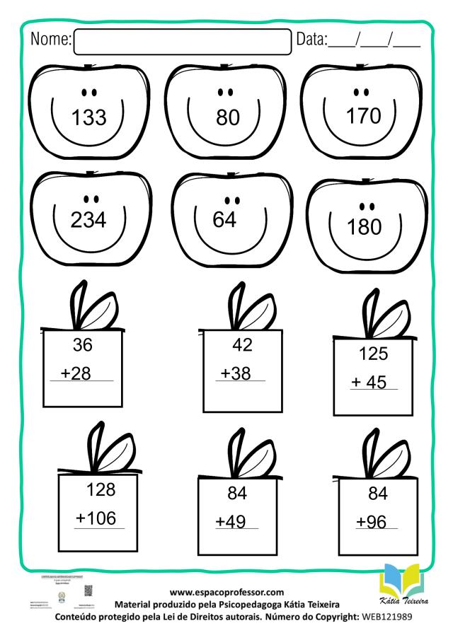 Atividade de matemática 2º ano 1: adição com reagrupamento