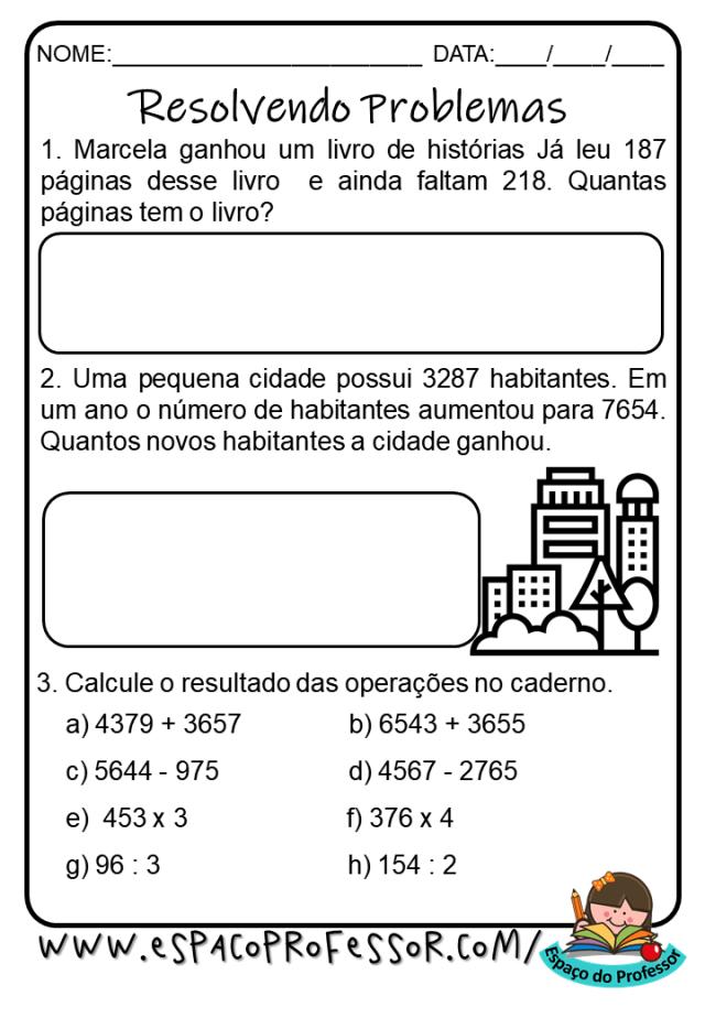 Atividade de matemática 4º ano: situações problema 4 ano