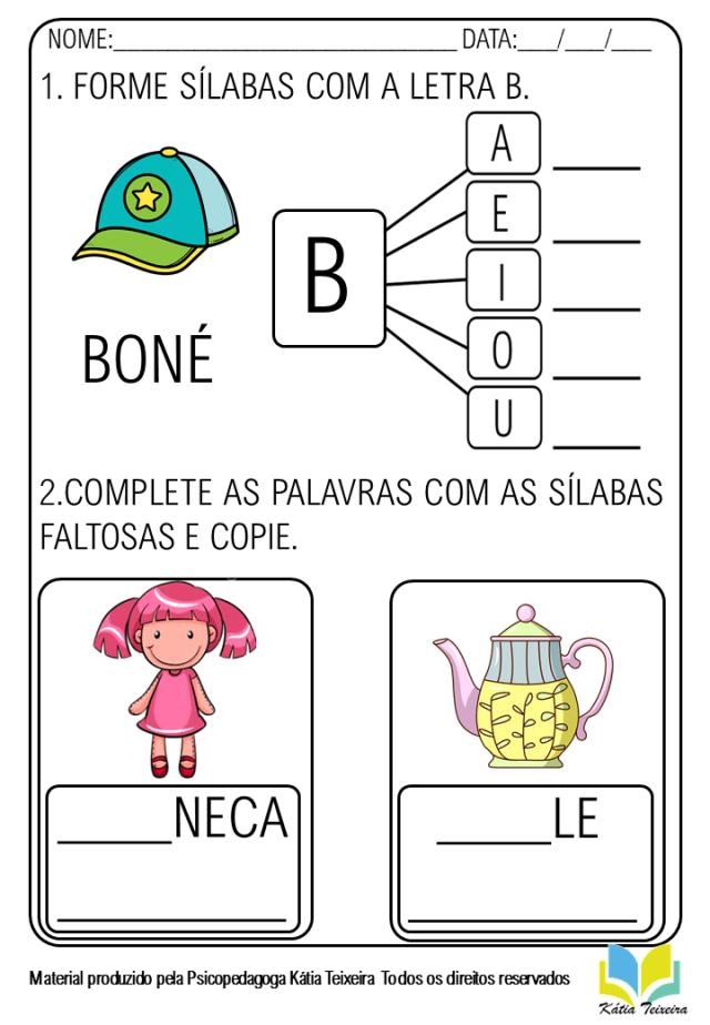 Atividade de alfabetização - atividade letra B para imprimir