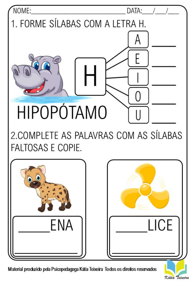 Atividade de alfabetização letra H em PDF pronta para imprimir