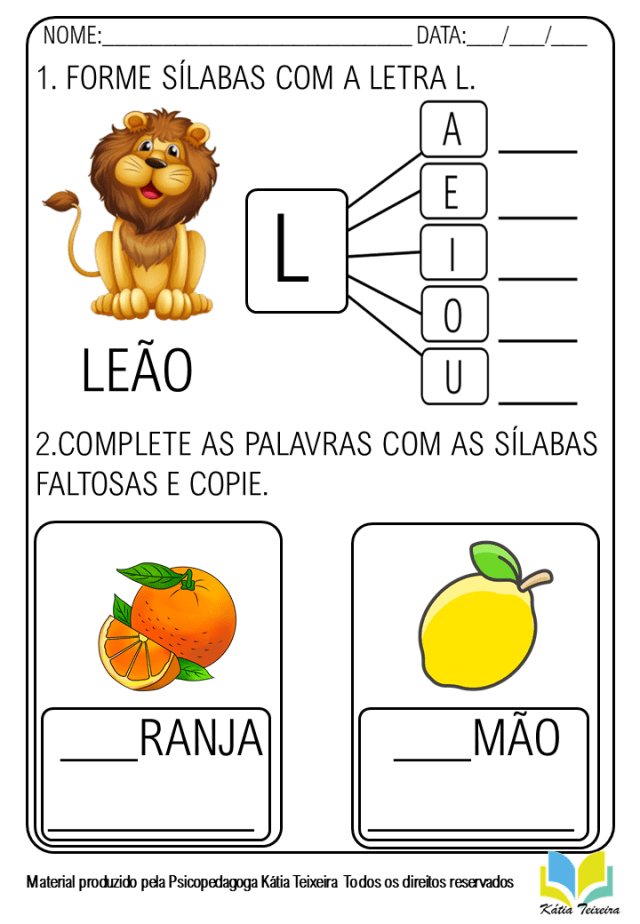 Atividades de alfabetização letra L pronta para imprimir