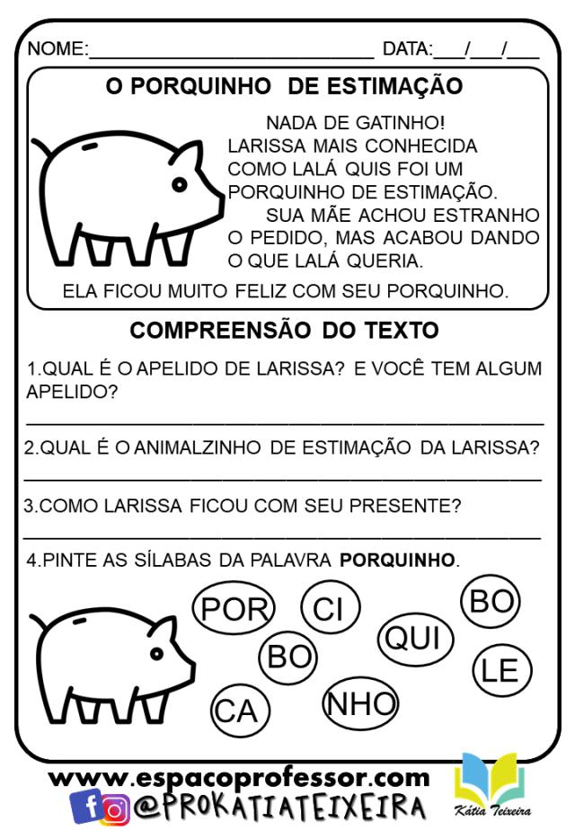 Atividades 1º ano ensino fundamental português para imprimir