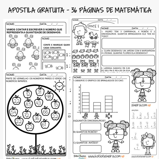 Apostila gratuita em PDF - 36 Atividades de matemática para alfabetização