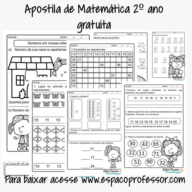 Apostila de matemática gratuita - atividades de matemática números e operações para 2º ano