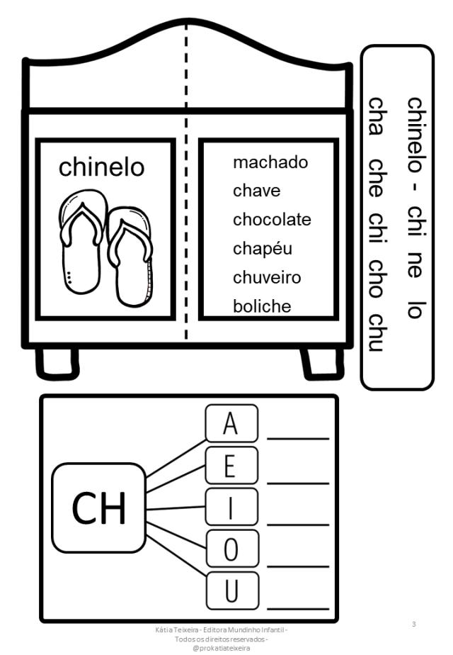 Atividade De Alfabetização – Sílabas Complexas CH – Armário Das Sílabas