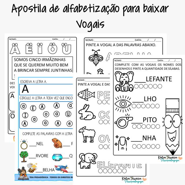 Atividades de alfabetização- apostila de atividades vogais
