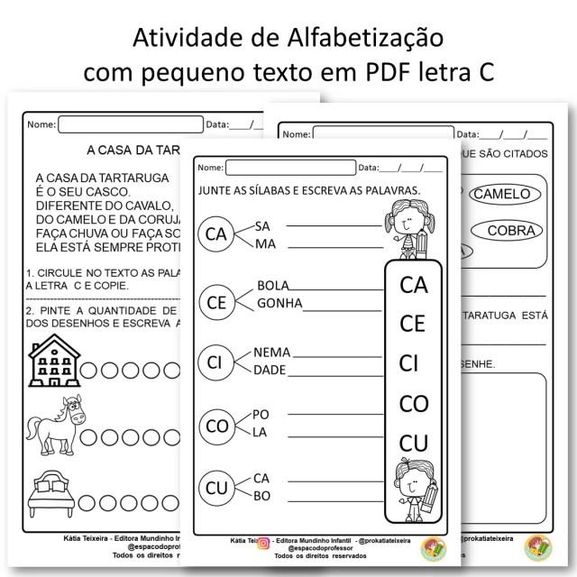 Atividade de Alfabetização com pequeno texto em PDF letra C
