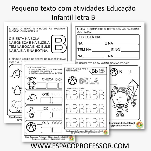 Pequeno texto com atividades Educação Infantil letra B