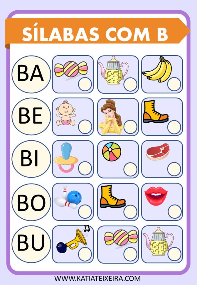 Atividades de Alfabetização Sílabas Para Imprimir-Sílabas com B