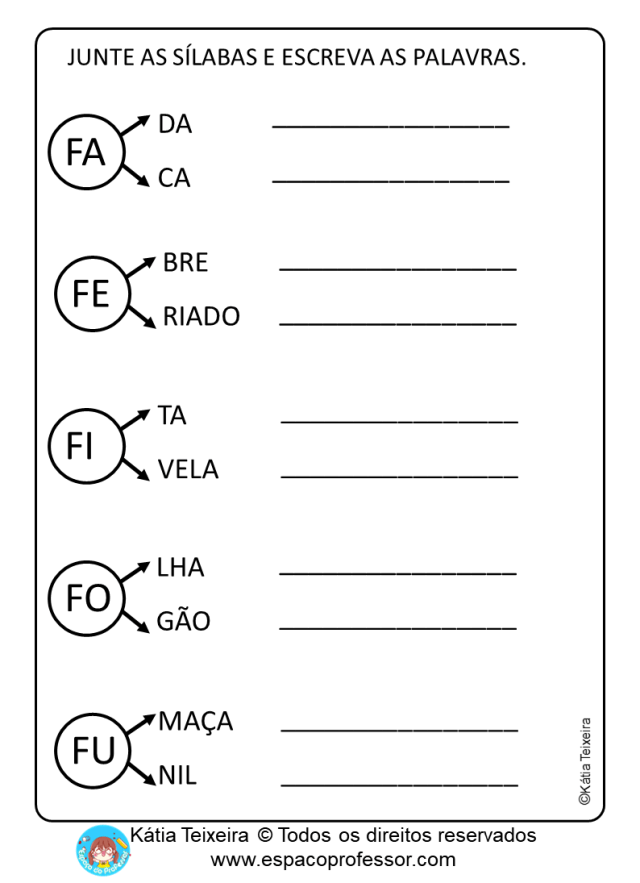 Atividades de Alfabetização com Pequeno Texto em PDF letra F