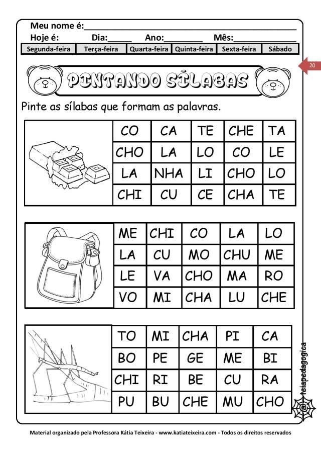 Atividades de alfabetização 01 para imprimir
