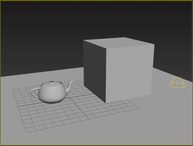 """La escena es simple. Un plano a modo de suelo y dos objetos: Una tetera """"modelada Correctamente"""" para tener oclusión al contacto con el suelo y una caja que no tiene """"suficiente geometría """" para mostrar de forma nítida la oclusión."""