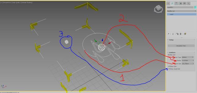 """Una vez creado el icono podemos apreciar que los corchetes de selección de MAX (amarillo) encierran tres elemenmtos: 1.- Icono o helper del simulador (forma de gotas) 2.- El tipo de emisor y su tamaño (en este caso es un emisor esférico) y 3.- El """"voxel Grid"""" que es el que controla la reoslución o precisión de nuestra simulación)"""