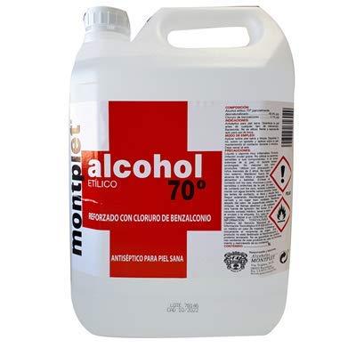 Alcohol etílic antisèptic amb benzalconi 70 ° MONTPLET Envàs 5 litres. Etanol.