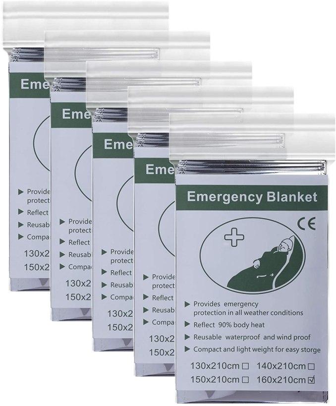 manta tèrmica QH-shop Manta de Aislamiento 5 Pack Foil Supervivencia Primeros Auxilios