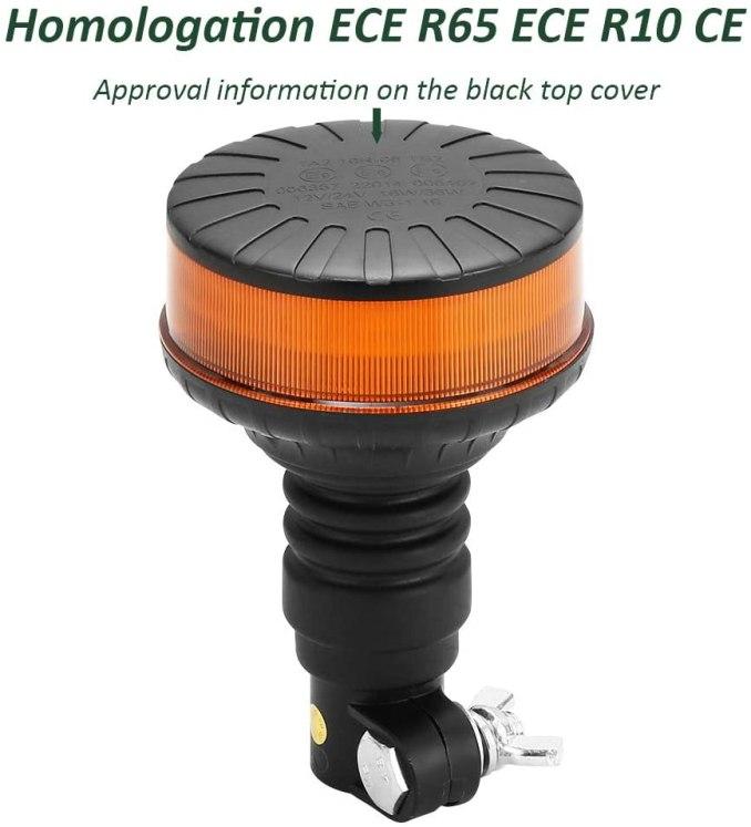 D-TECH LED de 12 / 24V Llum d'Advertència Llum estroboscòpica rotatiu Llums d'Emergència DIN flexible Homologat per Tractor Camió Vehicle Remolc Per