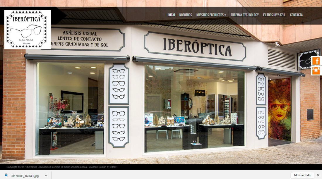 Web de la óptica Iberoptica.