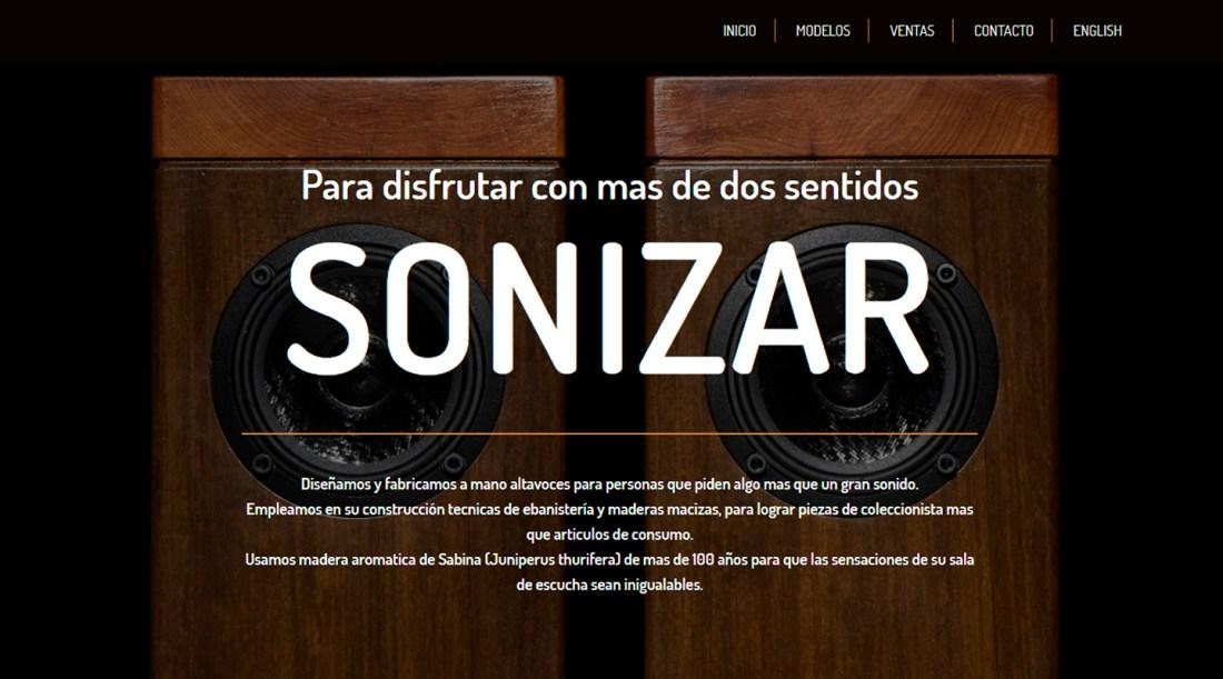 Web de la marca de altavoces Hi-End Sonizar.