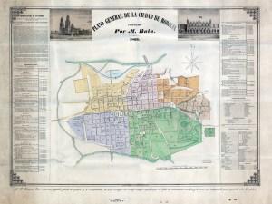 Plano General de la Ciudad de Morelia formado por M. Bala, 1869.