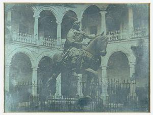 Daguerrotipo La Real y Pontificia Universidad De Mexico, monumento a Carlos IV el caballito, por Jean Prelier Dudoille, circa 1840