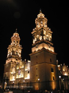 Catedral de Morelia, iluminación nocturna actual