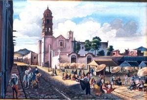 Templo de San Agustín por Mariano de Jesús Torres. Al lado derecho se puede ver el mercado en primer plano, al fondo la barda atrial y los árboles del cementerio