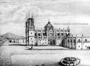 Litografía de la Catedral de Valladolid, manipulada para mostrar la etapa de construcción