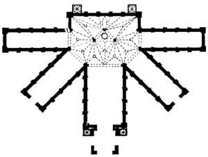 Planta arquitectónica de la Catedral de San Salvador. Fuente: Ramírez Montes, Mina, La catedral de Vasco de Quiroga, México, El Colegio de Michoacán, 1986.