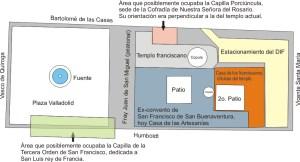 Croquis de la ubicación de todos los elementos del conjunto franciscano