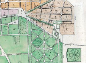 Parte suroriente de la ciudad en el plano de 1869, fragmento.