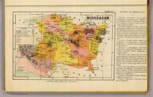 Atlas metódico para la enseñanza de la geografía de la Republica Mexicana. Carta 13. Estado de Michoacán, 1899