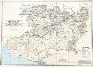 Carta General del Estado de Michoacán, 1968. Fuente: Biblioteca Conjunta de Ciencias de la Tierra (BCCT), UNAM.