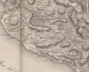 Nueva España en 1804, arreglado a 1809, por el Barón Alexander Von Humboldt -detalle-