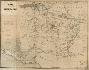 Plano del Estado de Michoacán 1863, Noticias para la Historia del Obispado de Michoacán. Plano del Estado de Michoacán, 1863. Fuente: Mapoteca Manuel Orozco y Berra.