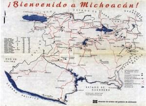Mapa de la Dirección de Turismo de Michoacán, 1970s-1980s