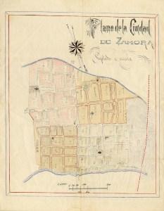 Plano de la Ciudad de Zamora, finales del siglo XIX, principios del XX