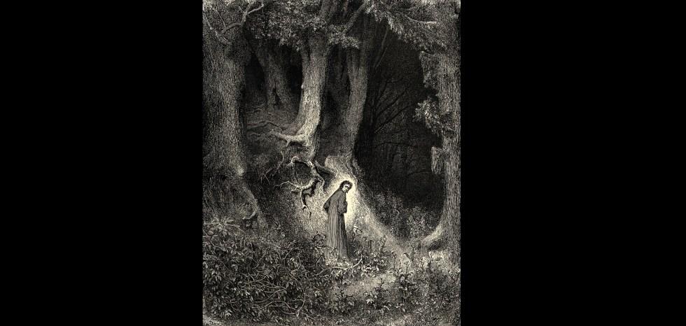 """""""Dante en el bosque oscuro"""", grabado de Gustave Doré"""